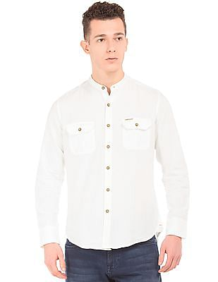 U.S. Polo Assn. Denim Co. Mandarin Collar Linen Cotton Shirt
