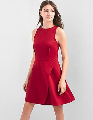 GAP Women Red Fit And Flare Wrap Dress