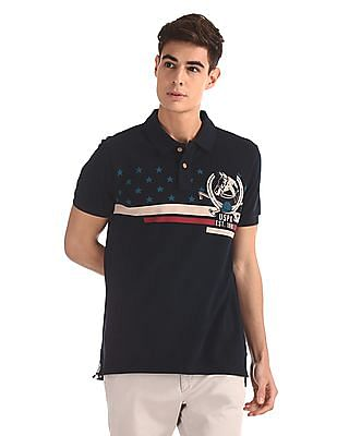 U.S. Polo Assn. Denim Co. Blue Printed Pique Polo Shirt
