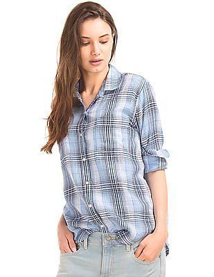 GAP Cotton Plaid Boyfriend Shirt