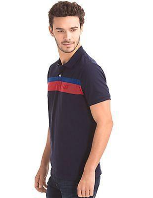 GAP Men Blue Dual Stripe Polo