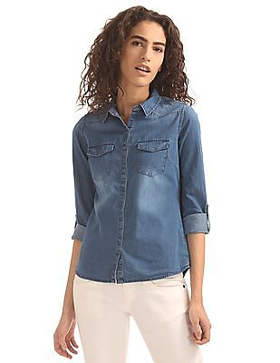 Flying Machine Women Western Yoke Denim Shirt