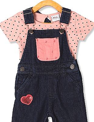 Donuts Blue Girls Denim Dungarees With Printed T-Shirt