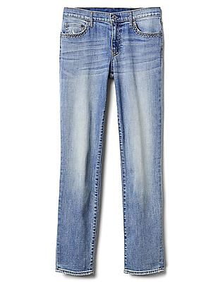 GAP Women Blue Stud-Pocket Straight Jeans