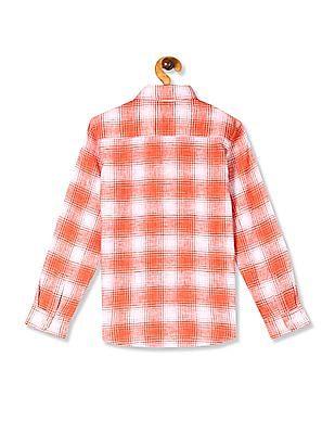 U.S. Polo Assn. Kids Orange Boys Check Cotton Shirt