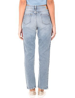 Flying Machine Women Colour Block Distressed Jeans