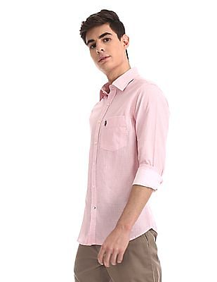 U.S. Polo Assn. Red Rounded Cuffs Printed Shirt