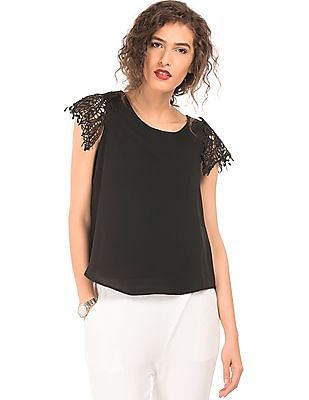 Elle Lace Sleeve Solid Top