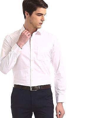 Arrow White Vertical Stripe Giza Cotton Shirt