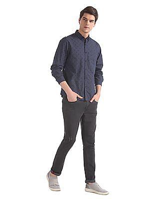 Ruggers Blue Regular Fit Button Down Shirt