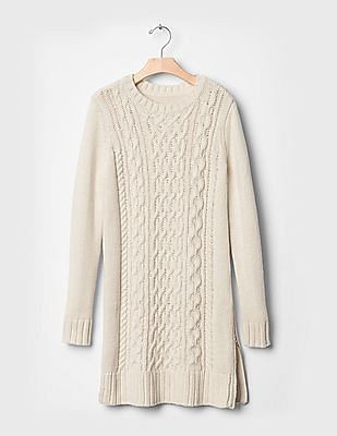 GAP Girls White Mix-cable Zip Sweater Dress
