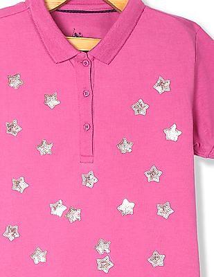 U.S. Polo Assn. Kids Pink Girls Star Embellished Pique Polo Shirt