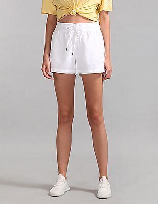 "GAP Women White 3.5"" Drawstring Shorts in Linen-Cotton"