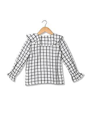 U.S. Polo Assn. Kids Girls Long Sleeve Check Top