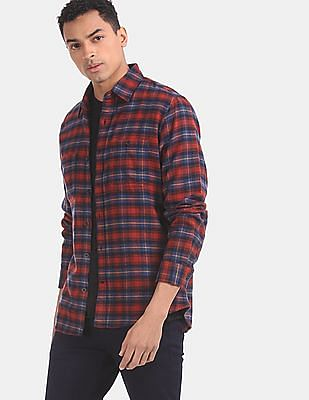GAP Men Red Rounded Cuff Flannel Shirt