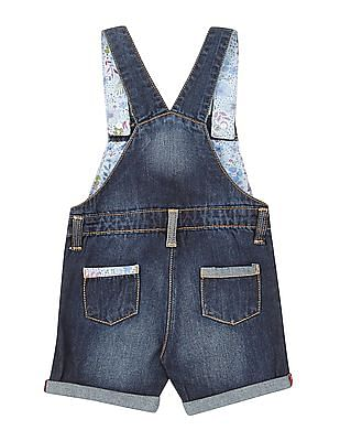 Donuts Girls Floral Embroidered Denim Dungarees