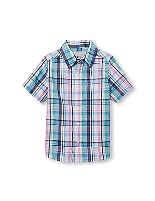 The Children's Place Boys Short Sleeve Plaid Button-Down Shirt