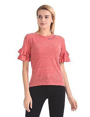 Flying Machine Women Ruffle Trim Heathered T-Shirt