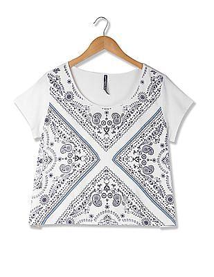 Flying Machine Women Short Sleeve Paisley Print Crop T-Shirt