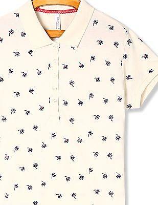 U.S. Polo Assn. Women White Floral Print Pique Polo Shirt