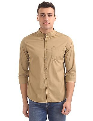 Flying Machine Mandarin Collar Cotton Shirt