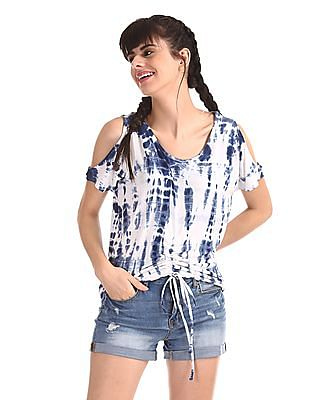 Aeropostale Blue Cold Shoulder Dyed Top