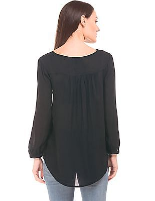 Cherokee Embroidered Crinkled Peasant Top