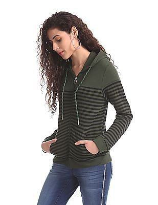 Cherokee Green Hooded Striped Sweatshirt