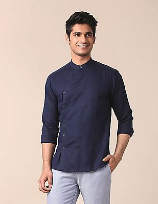 True Blue Angrakha Style Linen Cotton Shirt