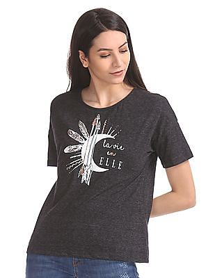 Elle Printed Front Round Neck T-Shirt