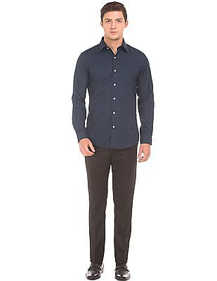 Arrow Patterned Weave Slim Fit Shirt
