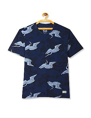 Flying Machine Blue Crew Neck Printed T-Shirt