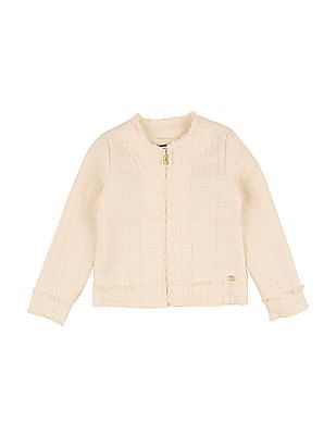 U.S. Polo Assn. Kids Girls Textured Fringe Trim Jacket