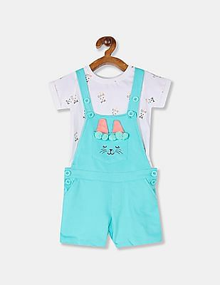 Cherokee Girls Mint Green And White Knit Dungaree Shorts And T-Shirt Set