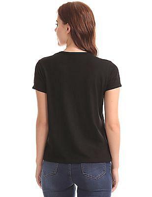 Flying Machine Women Studded Front Cotton Viscose T-Shirt