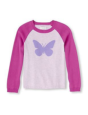 The Children's Place Girls Butterfly Icon Knit Sweater