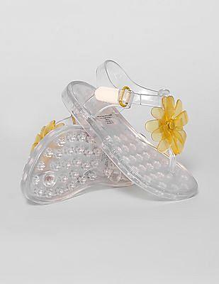 GAP Toddler Girl Silver Flower Jelly Sandals