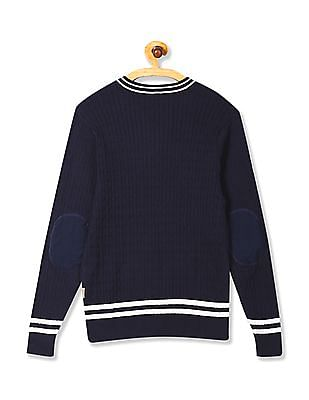 Flying Machine V-Neck Cable Knit Sweater