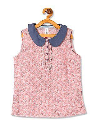 U.S. Polo Assn. Kids Girls Floral Print Sleeveless Top