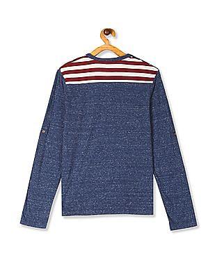 U.S. Polo Assn. Kids Blue Boys Shoulder Panel Heathered Henley T-Shirt