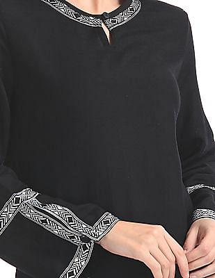 Bronz Contrast Embroidered Trim Top