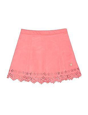 U.S. Polo Assn. Kids Girls Laser Cut Suedette Skirt
