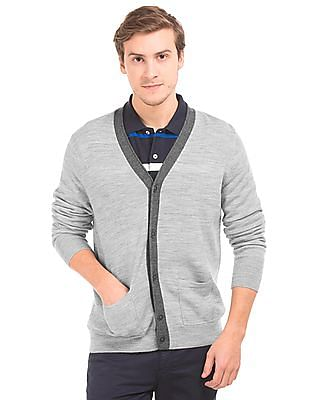 Nautica Heathered Merino Wool Cardigan