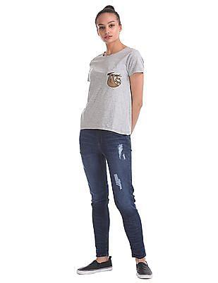 Flying Machine Women Short Sleeve Heathered T-Shirt