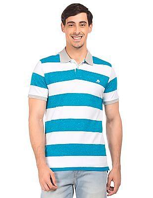 Aeropostale Contrast Collar Striped Polo Shirt