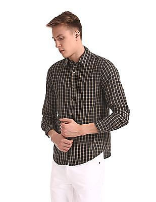 Roots by Ruggers Brown Rounded Cuff Check Shirt