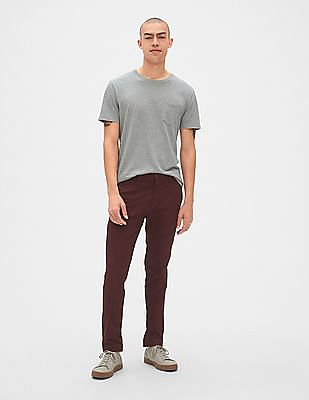 GAP Red Modern Khakis In Skinny Fit With GapFlex