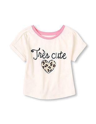 The Children's Place Toddler Girl Short Dolman Sleeve Embellished Top