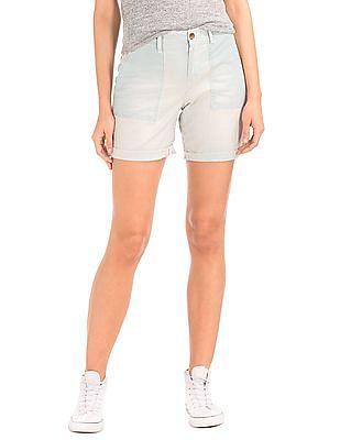 GAP Women White Railroad Stripe Girlfriend Shorts