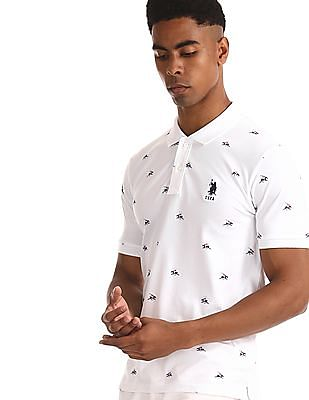 U.S. Polo Assn. White Printed Cotton Stretch Polo Shirt